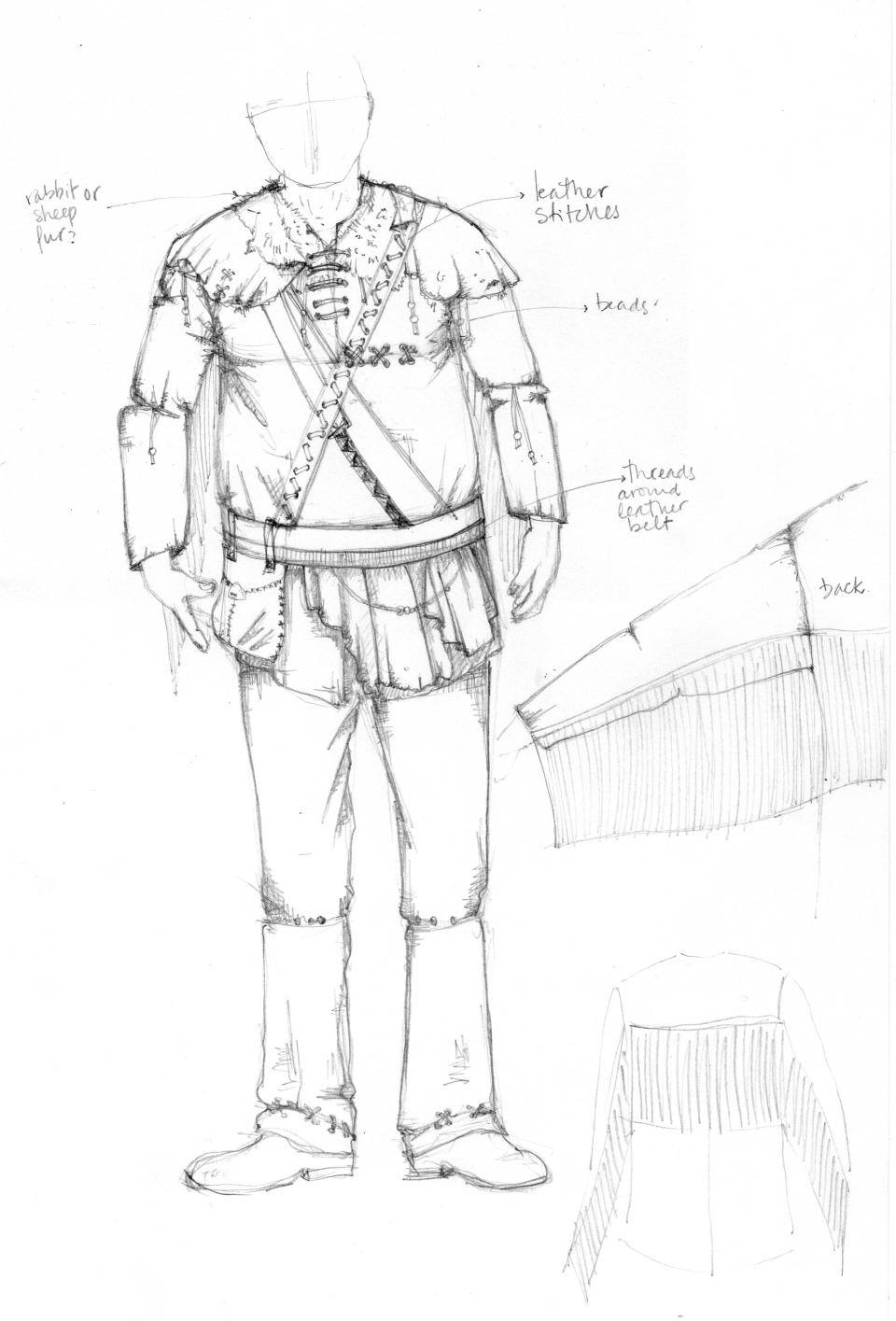 Mountain Man Costume Sketch - Lucía